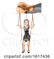3d Brunette Caucasian Business Woman Puppet And Boss On A White Background
