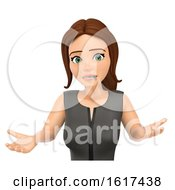 3d Brunette Caucasian Business Woman With Her Mouth Zipped Shut On A White Background