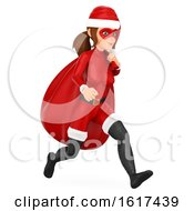 3d Christmas Santa Woman Running With A Sack On A White Background