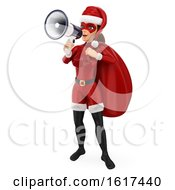 3d Christmas Santa Woman Using A Megaphone On A White Background