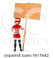 3d Christmas Santa Woman Super Hero Holding A Blank Sign On A White Background