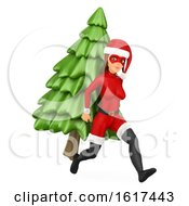 3d Christmas Santa Woman Super Hero Running With A Tree On A White Background