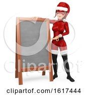 3d Christmas Santa Woman Presenting A Blank Board On A White Background