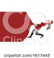 3d Christmas Santa Woman Pulling A Giant Sack With Copyspace On A White Background