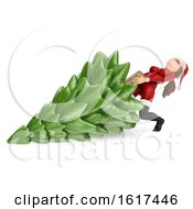 3d Christmas Santa Woman Pulling A Tree On A White Background