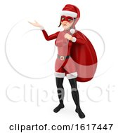 3d Christmas Santa Woman Holding A Sack On A White Background
