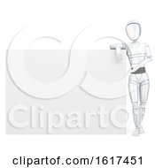 3d Humanoid Robot Presenting A Blank Sign On A White Background