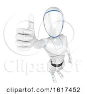3d Humanoid Robot Holding Up A Thumb On A White Background