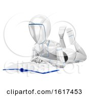 3d Humanoid Robot Reading A Book On A White Background