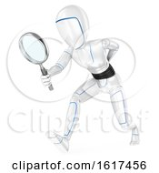3d Humanoid Robot Using A Magnifying Glass On A White Background