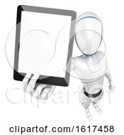3d Humanoid Robot Holding A Tablet Computer On A White Background