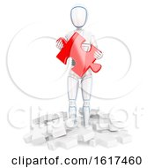 3d Humanoid Robot Holding A Jigsaw Puzzle Piece On A White Background