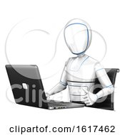 3d Humanoid Robot Using A Laptop Computer On A White Background
