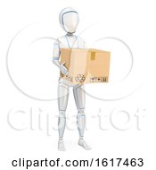 3d Humanoid Robot Carrying A Box On A White Background