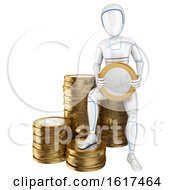 3d Humanoid Robot With A Stack Of Euro Coins On A White Background