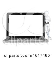 Poster, Art Print Of 3d Humanoid Robot By A Giant Laptop Computer On A White Background