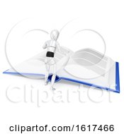 Poster, Art Print Of 3d Humanoid Robot Reading A Giant Book On A White Background