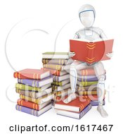 3d Humanoid Robot Reading On A Pile Of Books On A White Background