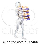 3d Humanoid Robot Carrying A Stack Of Binders On A White Background