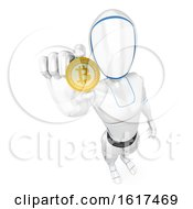 3d Humanoid Robot Holding Out A Bitcoin On A White Background