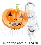 3d Humanoid Robot Holding A Halloween Pumpkin On A White Background