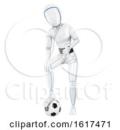 3d Humanoid Robot Resting A Foot On A Soccer Ball On A White Background