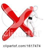 Poster, Art Print Of 3d Humanoid Robot With An X Mark On A White Background