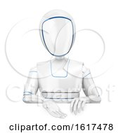 3d Humanoid Robot Presenting Over A Sign On A White Background
