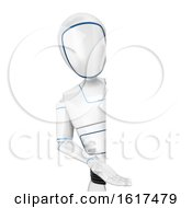 3d Humanoid Robot Presenting Around A Sign On A White Background