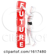 Poster, Art Print Of 3d Humanoid Robot Stacking Future Cubes On A White Background