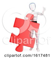 Poster, Art Print Of 3d Humanoid Robot With A Giant Jigsaw Puzzle Piece On A White Background