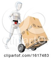 3d Humanoid Robot Moving Boxes On A Dolly On A White Background