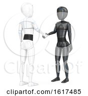 3d Humanoid Robots Shaking Hands On A White Background