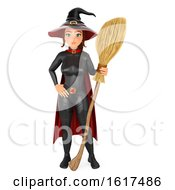 3d Halloween Witch Holding A Broom On A White Background