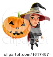 3d Halloween Witch Holding A Jackolantern On A White Background