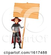 3d Halloween Witch Holding A Blank Sign On A White Background