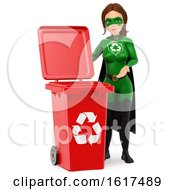 3d Caucasian Super Hero Recycle Woman By A Red Bin On A White Background