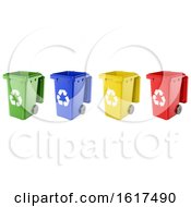 3d Dustbins Of Various Colors On A White Background