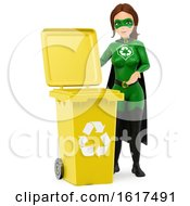 3d Caucasian Super Hero Recycle Woman By A Yellow Bin On A White Background