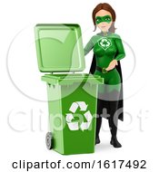 3d Caucasian Super Hero Recycle Woman By A Green Bin On A White Background