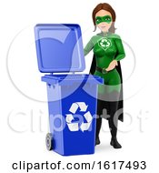 3d Caucasian Super Hero Recycle Woman By A Blue Bin On A White Background