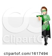 3d Caucasian Super Hero Recycle Woman By A Blank Sign On A White Background