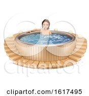 3d Caucasian Woman Soaking In A Hot Tub On A White Background