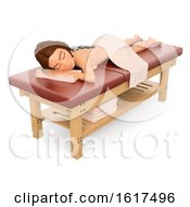 Poster, Art Print Of 3d Caucasian Woman Getting A Hot Stone Massage At A Spa On A White Background