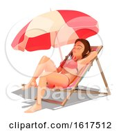 3d Caucasian Woman In A Bikini Resting On A Beach Lounger On A White Background