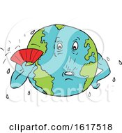Poster, Art Print Of Planet Earth With Fan Fanning Itself To Keep Cool