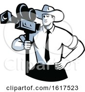 Cowboy Cameraman Vintage Movie Camera Retro