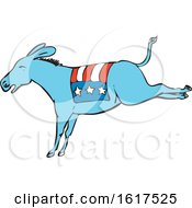Poster, Art Print Of American Donkey Kicking Color Drawing