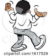Cartoon Black Boy Or Man Walking Away And Shrugging Giving Up by Johnny Sajem
