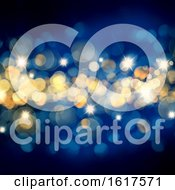 Poster, Art Print Of Blue And Gold Christmas Background With Bokeh Lights And Stars